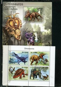 ST.THOMAS & PRINCE ISLANDS 2011 DINOSAURS 2 SHEETS OF 2 & 4 STAMPS MNH