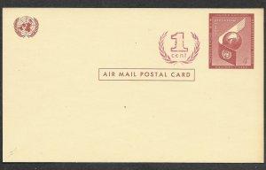 UN-NY # UXC2    4c+1C Air Postal Card - Revalued 1959      (1)  Mint