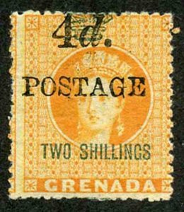 Grenada SG41 4d on 2/- 4mm between 4d and postage a few tone spots Cat 21 pounds