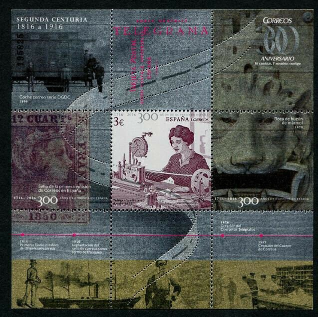 HERRICKSTAMP NEW ISSUES SPAIN Sc.# 4121 300 Years Post Part 2 Foil S/S
