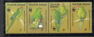 Norfolk Island Sc 421 1987 WWF Parrots stamp set mint NH