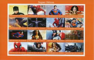 Congo 2017 CTO Superheroes Spiderman Superman Batman Wonderwoman 16v M/S Stamps