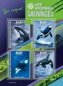 Central Africa - 2019 Wild Animals Orcas - 4 Stamp Sheet - CA190312a