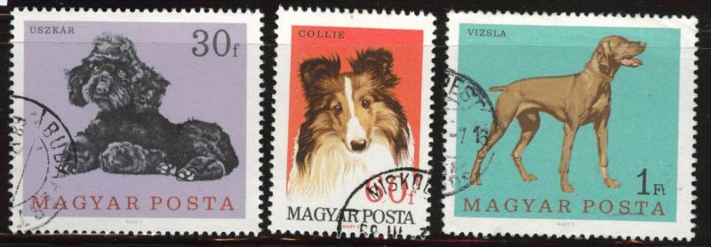Hungary Scott 1835-1837 used dog stamps
