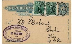 Bolivia 1906 La Paz cancel on uprated postal card to the U.S.