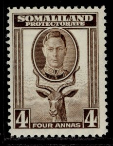 SOMALILAND PROTECTORATE GVI SG109, 4a sepia, M MINT.