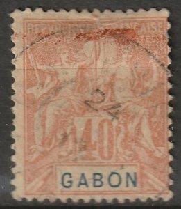 Gabon 1904 Sc 26 used small thin