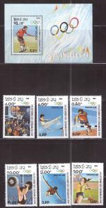 LAOS Scott 429-435 NGAI MNH** LA Olympics set and mini sheet