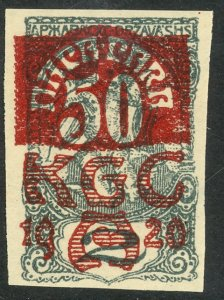 YUGOSLAVIA CARINTHIA PLEBISCITE 1920 50p on 2f Semi Postal Sc 4LB5 MH