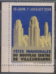 FRANCE CINDERELLA 1934 Jun 10-Jul 1 OPENING OF VILLEURBANNE NEW DOWNTOWN MNH VF
