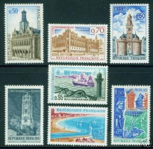 FRANCE Scott 1185-91 MNH** Tourism Stamp Set 1967