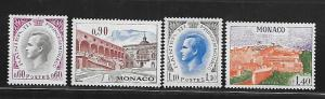 MONACO, 789-792, MNH, PRINCE RAINIER TYPE OF 1955 & PALACE TYPE