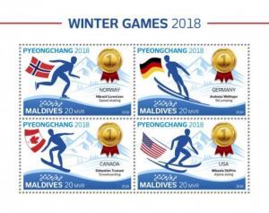 Maldives - 2018 Winter Olympic Games - 4 Stamp Sheet - MLD18715a