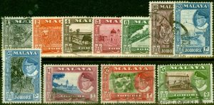 Johore 1960 Set of 11 SG155-165 Fine Used