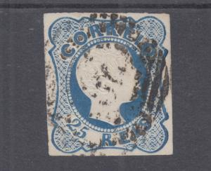 Portugal Sc 10 used 1856 25r King Pedro V, Curled Hair, Type II, 4 margins