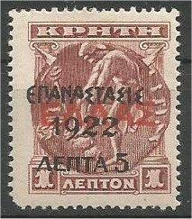 GREECE, 1905, MH 5 l on 1 l, Surcharge on Crete Scott 276B