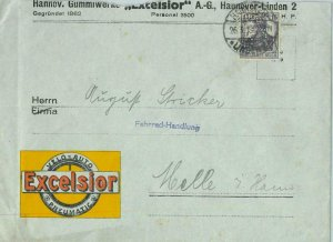 93186 - GERMANY - POSTAL HISTORY - PERFIN stamp on COVER : EXCELSIOR Tyres 1919