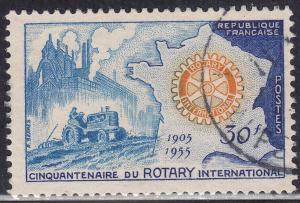 France 741 Hinged Used 1955 Allegory & Rotory Emblem 30F