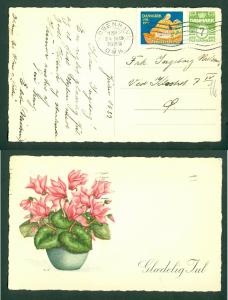 Denmark. Christmas Card 1939 With Seal + 7 Ore. Copenh,,Flowers. Cancel: 24 Dec.