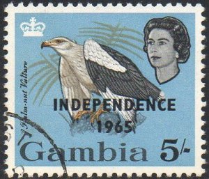 Gambia 1965 5/-  Palm-nut vulture with 'Independence 1965' ovpt used
