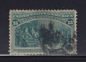 238 VF-XF used neat cancel with nice color cv $ 73 ! see pic !