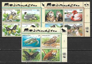 United Nations 733a, G 321a, V 238a 1998 Endangered Species Block MNH (lib)