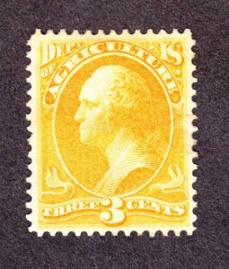 US O3 3c Agriculture Department Mint VF-XF POG SCV $220