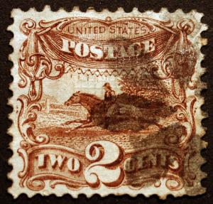 #113 2c 1869 Brown VF Used Segmented Foreign Cancel Crisp CV $100+