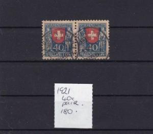 SWITZERLAND PROJVENTUTE 1921 USED 40c  PAIR  CAT £ 180   R2634