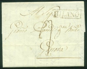 ITALY-Milano 1829 FOLDED LETTER TO GENEVA. F-VF  (80-78)