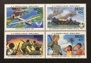 Palau 1990 #257a Block of 4, WWII 50th, MNH.
