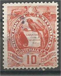 GUATEMALA, 1890, used 10c, National Emblem Scott 48