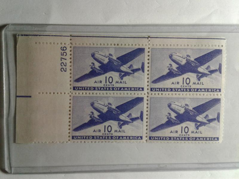 SCOTT # C27  10 CENT DESIRABLE AIR MAIL PLATE BLOCK MINT HINGED