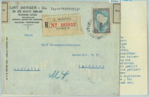 85963 - ARGENTINA - Postal History - REGISTERED COVER to GERMANY Ship Mail  Maps