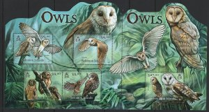 Solomon Islands Scott 1182 Souvenir Sheet MNH! Owls!