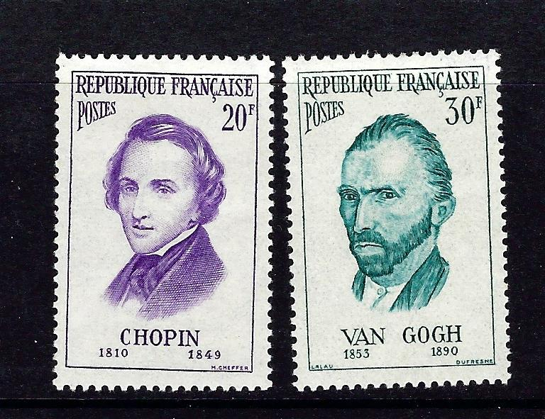 France 815-16 Hinged 1956 High values of set
