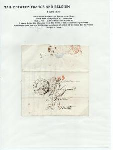 FRANCE Early LETTER/COVER 1830 fine used item Bordeaux - Hornu Belgium