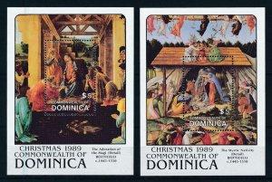 [105774] Dominica 1989 Christmas art paintings Botticelli 2 Souv. Sheets MNH