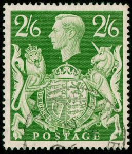 SG476b, 2s 6d yellow-green, FINE USED, CDS.