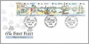 Australia - First Fleet Strip of 5 - Sc 1024 - FDC - $1.50 shipping on this item
