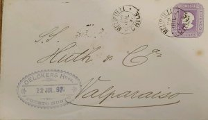 J) 1897 CHILE, 5 CENTS PURPLE, POSTAL STATIONARY, CIRCULATED COVER, FROM MELIPIL