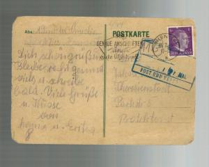 1944 Germany to Theresienstadt Concentration Camp Postcard Cover  Jakob Winkler