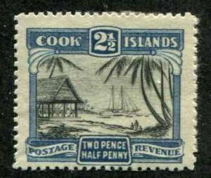 Cook Islands SC# 87a  SG#109  VIllage VIew 2-1/2d MH Perf 14 Paper on Back