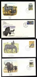 Flora & Fauna of the World #145-Animals-Zebra-Buffalo-four different FDCs with s