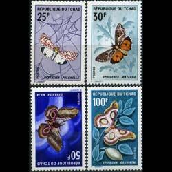 CHAD 1968 - Scott# 159-62 Moths Set of 4 LH back pen number