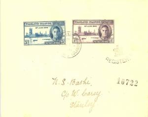 Falkland Islands 1d and 3d KGVI Peace 1946 Port Stanley, Falkland Islands Reg...