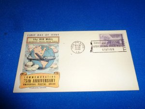 FLEUGEL MULTI COLORED CACHET FDC:  US SCOTT# C42
