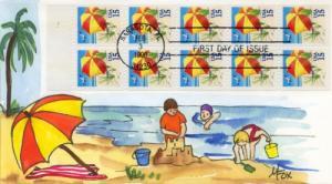 1990 Beach Umbrella Full Pane (Scott 2443a) Melissa Fox HP
