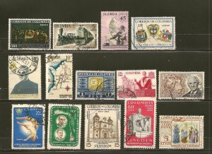 Colombia Collection of 15 Different 1950's-1960's Commemorative Stamps Used