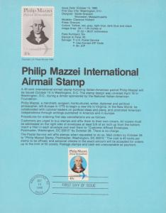 REDUCED!!  1980 PHILIP MAZZEI  AIRMAIL FDC SOUVENIR PAGE